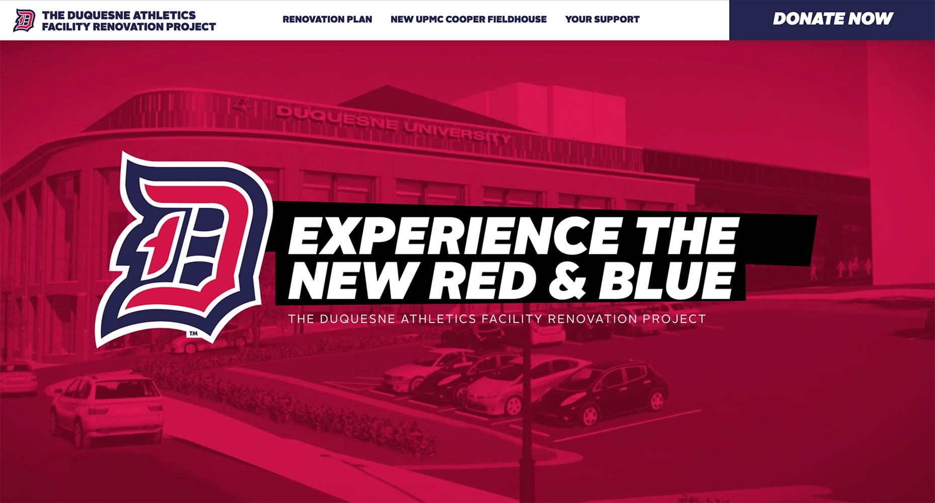 Duquesne Athletics Facility Renovation Website | <a href='https://duquesneathleticsfacilityrenovation.com/' target='_blank'>Visit Site <i class='nc-icon-glyph arrows-1_share-91'></i></a><br><span>Duquesne University</span>