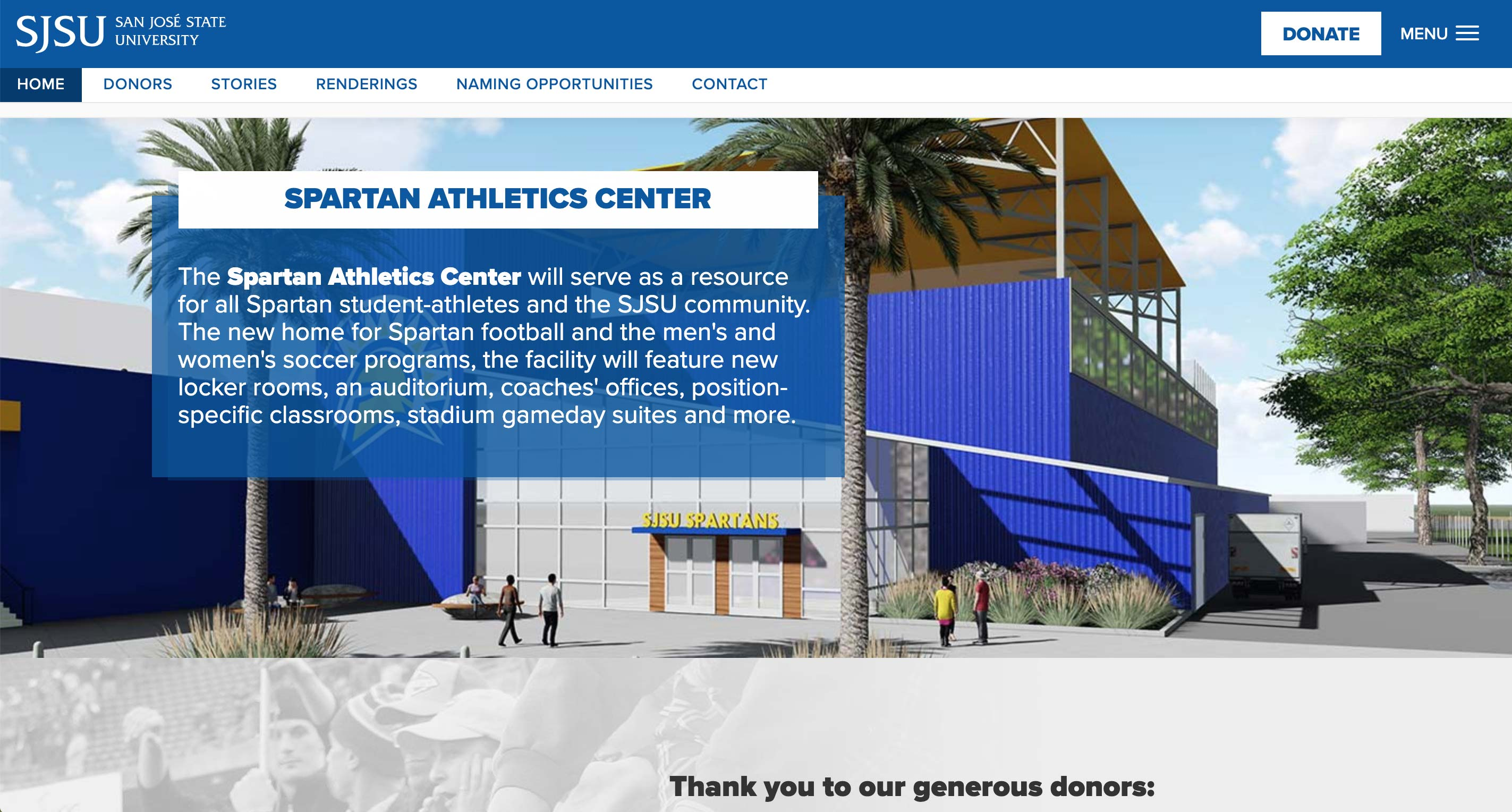All In Campaign for Spartan Football Website  | <a href='http://sjsufootball.com/' target='_blank'>Visit Site <i class='nc-icon-glyph arrows-1_share-91'></i></a><br><span>San Jose State University</span>