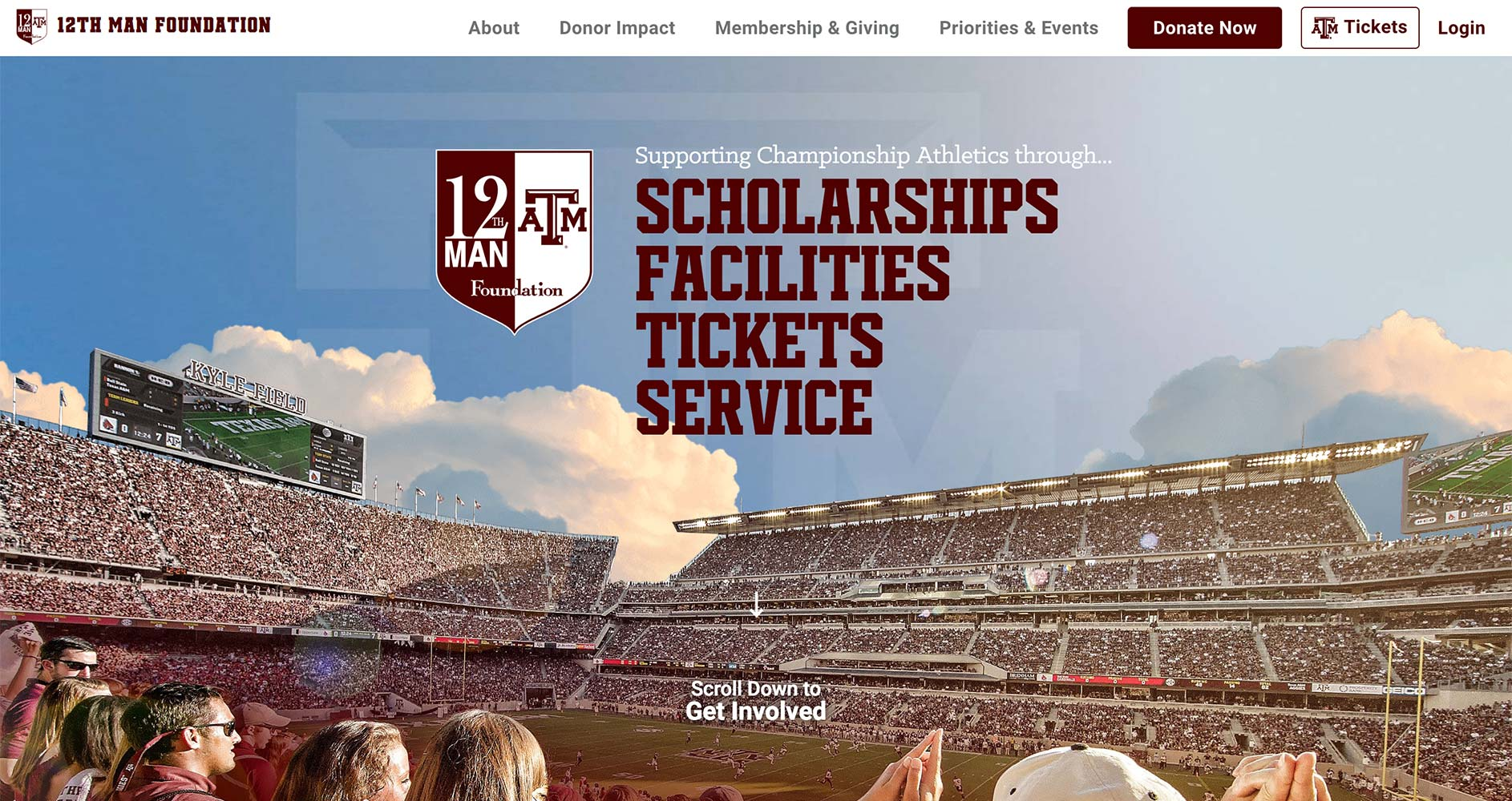 12th Man Foundation Website | <a href='https://12thmanfoundation.com/' target='_blank'>Visit Site <i class='nc-icon-glyph arrows-1_share-91'></i></a><br><span>Texas A&M University</span>