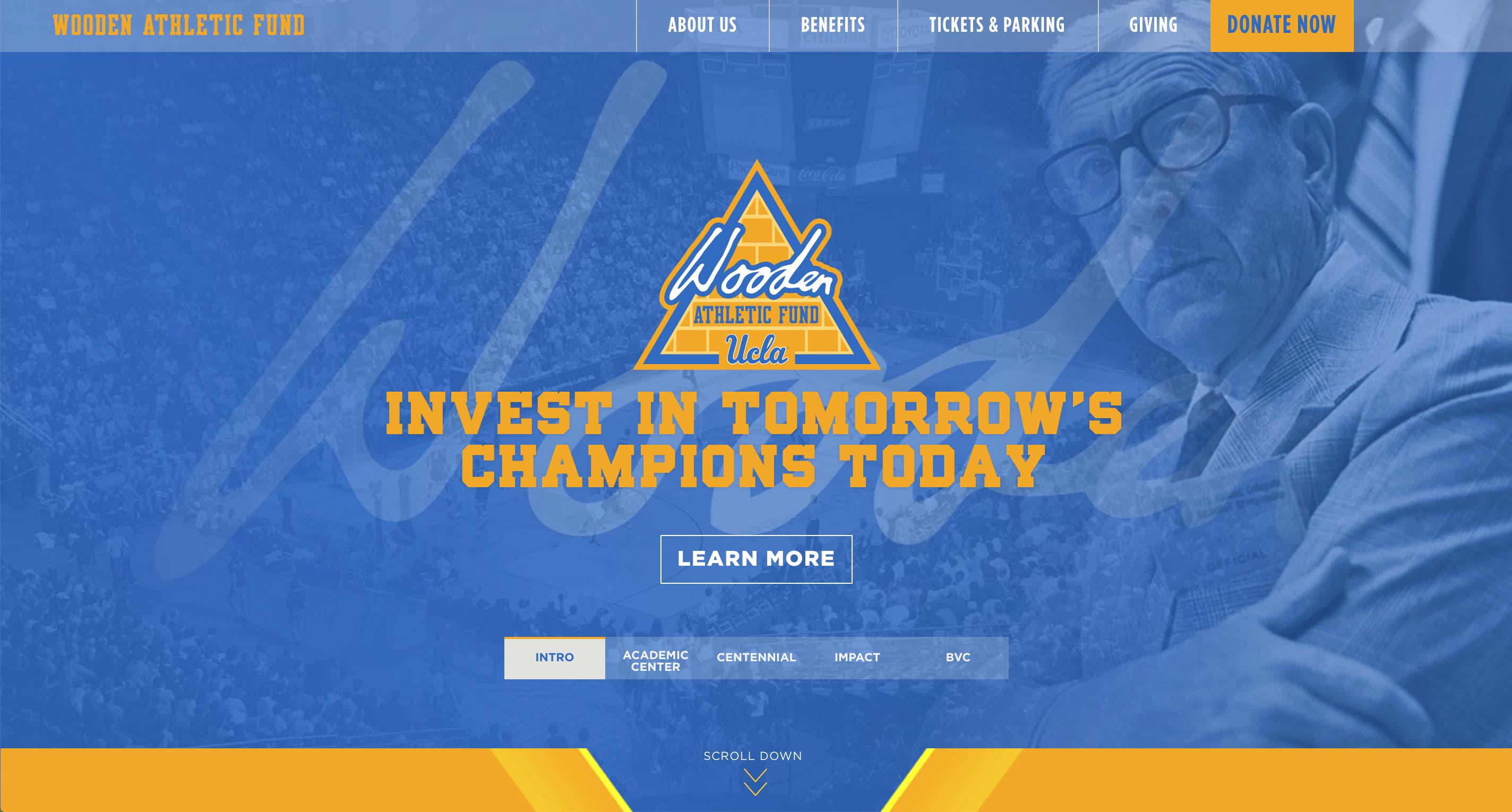 Wooden Athletic Fund Fundraising Website | <a href='http://www.woodenathleticfund.com/' target='_blank'>Visit Site <i class='nc-icon-glyph arrows-1_share-91'></i></a><br><span>UCLA</span>